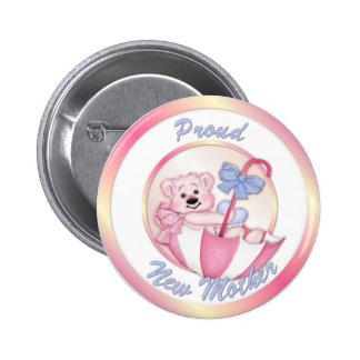 Ours de parapluie - nouvelle maman - fille badges