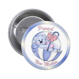 Ours de parapluie - nouvelle maman - garçon badges