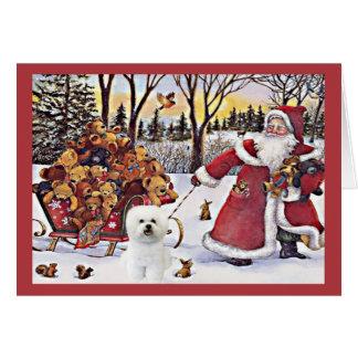Ours de Père Noël de carte de Noël de Bichon Frise