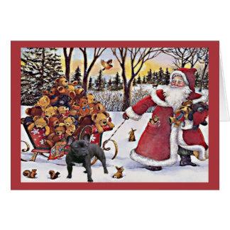 Ours de Père Noël de carte de Noël de bouledogue