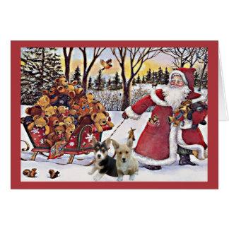 Ours de Père Noël de carte de Noël de corgi de