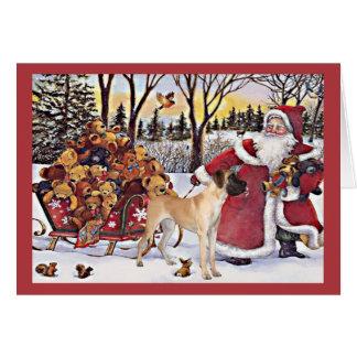 Ours de Père Noël de carte de Noël de great dane