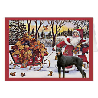 Ours de Père Noël de carte de Noël de Pinscher de