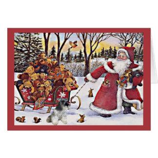 Ours de Père Noël de carte de Noël de Schnauzer