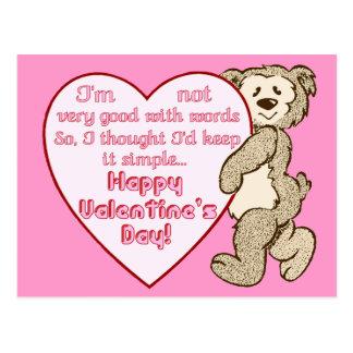 Ours de Saint-Valentin avec la carte postale de