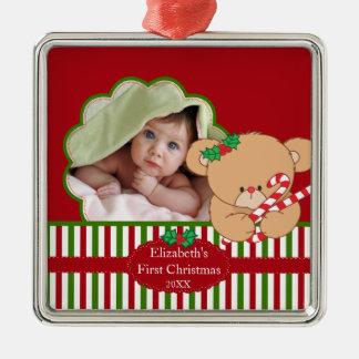 Ours doux de premier de Noël du bébé ornement de p