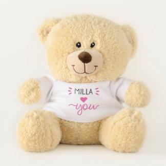 Ours En Peluche Amour rose de coeur vous avez personnalisé l'ours