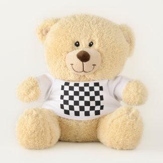 Ours En Peluche Blanc de emballage Checkered classique de noir de