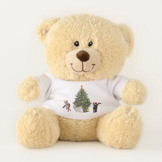 Ours En Peluche Chats avec l'arbre de Noël