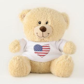 Ours En Peluche Coeur de drapeau américain