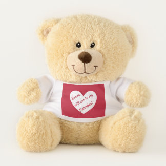 """Ours En Peluche Coeur rouge personnalisé """"vous serez mon Valentine"""