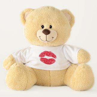 Ours En Peluche Lèvres de baiser de rouge