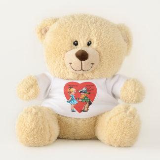 Ours En Peluche Saint-Valentin mignonne vintage, fille avec le