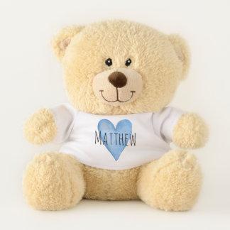 Ours En Peluche Typographie bleue de coeur d'amour avec le nom du