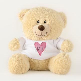 Ours En Peluche Typographie rose de coeur d'amour avec le nom de
