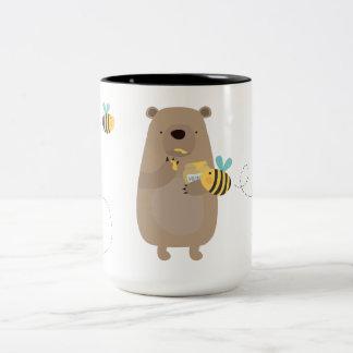 Ours et abeilles mug bicolore