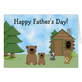 Ours et carte mignons de fête des pères de cabine