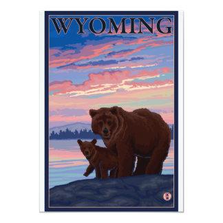 Ours et CUB - le Wyoming Carton D'invitation 12,7 Cm X 17,78 Cm