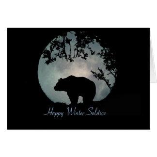 Ours et lune heureux de solstice d'hiver cartes
