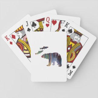 ours et saumon cartes à jouer