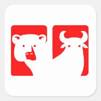 Ours et Taureau rouges Stickers Carrés