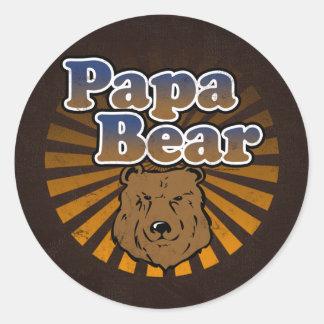 Ours frais de papa, Brown/bleu/cadeau papa d'or Sticker Rond
