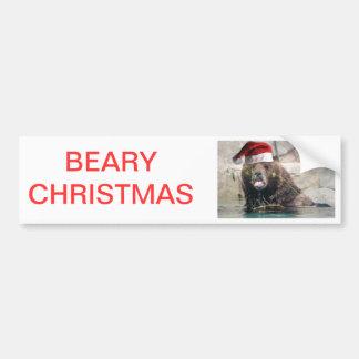Ours gris avec le chapeau de Père Noël Autocollant Pour Voiture