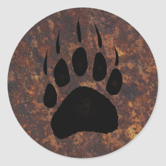Ours gris Pawprint Sticker Rond