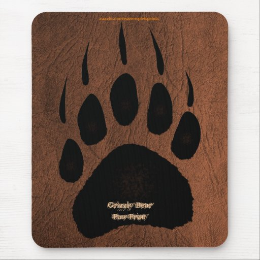 Ours gris Pawprint sur le cuir Mousepad de Faux Tapis De Souris