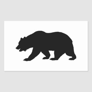 Ours gris sticker rectangulaire