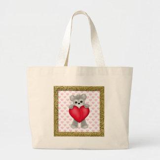 Ours heureux du jour de mère sac en toile jumbo