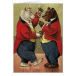 Ours heureux, gais, dansants victoriens vintages carte de vœux