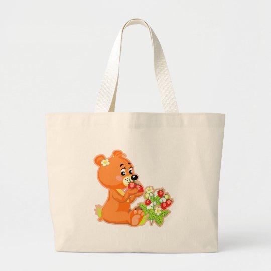 ours mignon mangeant des fraises grand tote bag