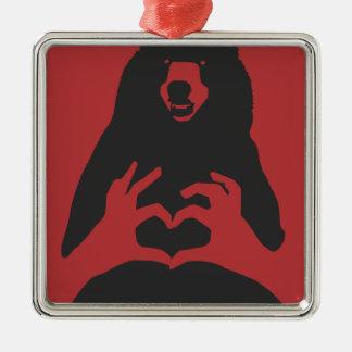 ours ornement carré argenté
