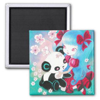 Ours panda avec la fille de Kawaii Magnet Carré