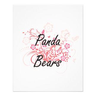Ours panda avec l'arrière - plan de fleurs prospectus 11,4 cm x 14,2 cm