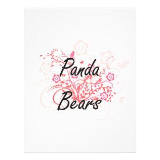 Ours panda avec l'arrière - plan de fleurs prospectus 21,6 cm x 24,94 cm