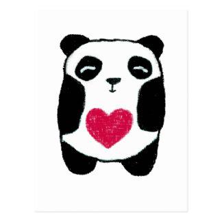 Ours panda avec une carte postale de coeur