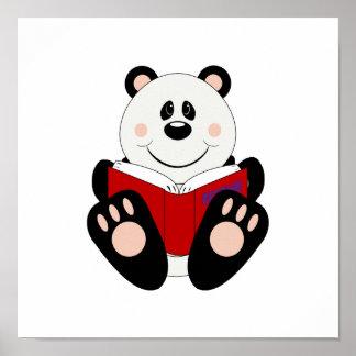 Ours panda de lecture de Cutelyn Affiches