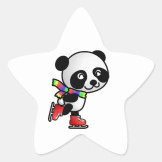 Ours panda de patinage mignon sticker en étoile