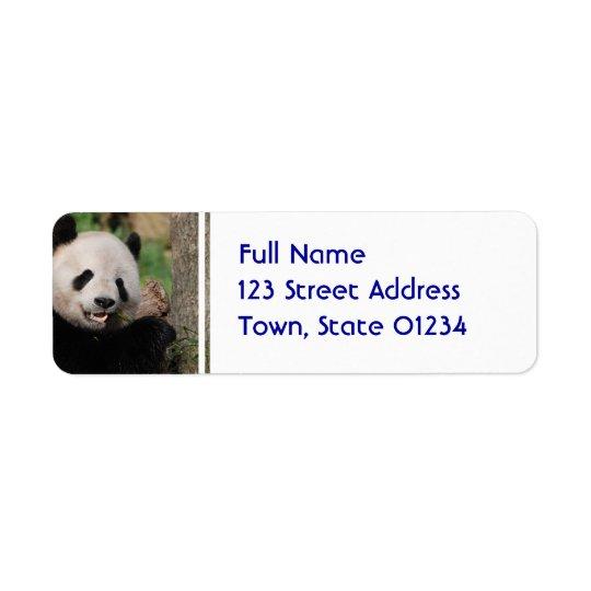 Ours panda de sourire étiquette d'adresse retour