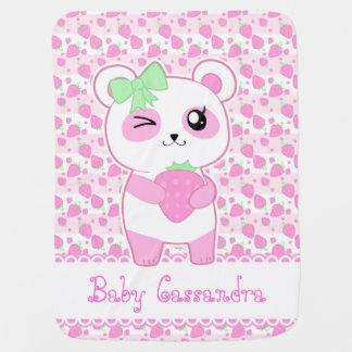 Ours panda mignon de Kawaii de rose de fraise Couverture De Bébé