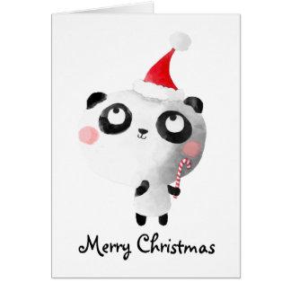Ours panda mignon de Noël Carte De Vœux