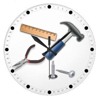 Outils de charpentier grande horloge ronde