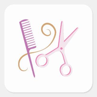 Outils de coiffeur autocollants carrés