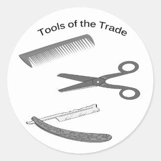 Outils de coiffeur du commerce sticker rond