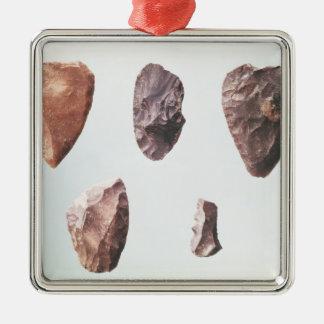 Outils en pierre préhistoriques, de Grotte De Ornement Carré Argenté