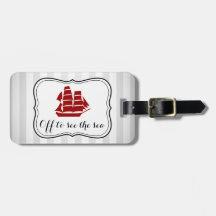 Outre de pour voir le bateau nautique de mer et étiquettes à bagages