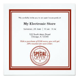 Ouverture officielle d'offre spéciale carton d'invitation