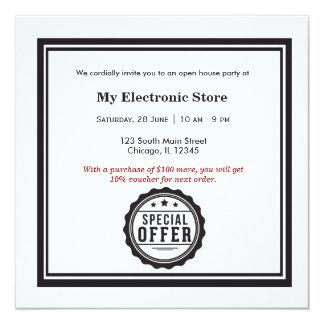 Ouverture officielle d'offre spéciale carton d'invitation  13,33 cm